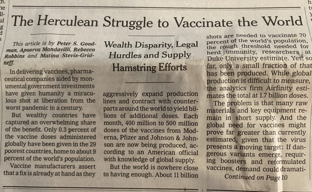 Vaccinating the world is difficult